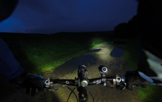 Mountainbike with mounted Suprabeam lights