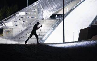 Professional cross country skiier on Holmenkollen